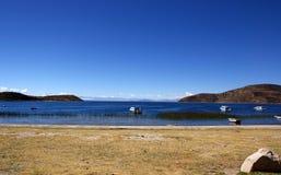 Isla del sol op Titicaca-meer, Bolivië Royalty-vrije Stock Afbeeldingen