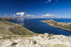 Isla del Sol. Picturesque view of Isla del Sol, island on lake Titicaca in Bolivia stock images