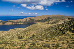 Isla del Sol. Scenic view of Isla del Sol, island on lake Titicaca in Bolivia stock images