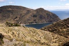Isla del sol sur le lac Titicaca, Bolivie image stock