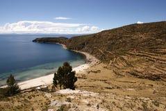 Isla del sol sur le lac Titicaca, Bolivie photo stock