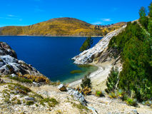 Isla del Sol on Titicaca Lake. Blue water of Lake Titicaca and landscape of Isla del Sol, Bolivia stock photos