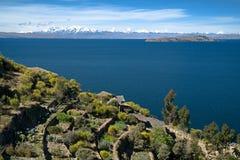Isla del Solenoid, Lake Titicaca i Bolivia arkivbilder