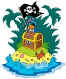 Isla del tesoro con el loro del pirata ilustración del vector
