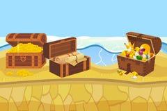 Isla del tesoro con las monedas del pecho y de oro y el ejemplo del vector de la bandera de la joyería Accesorios costosos tales  ilustración del vector