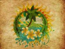 Isla del trópico del Grunge Imagen de archivo libre de regalías
