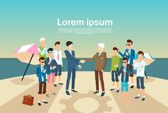 Isla del verano de Handshake Businesspeople Group del líder del hombre de negocios stock de ilustración