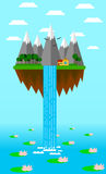Isla del vuelo con la cascada y lago con los lirios de agua Fotografía de archivo libre de regalías