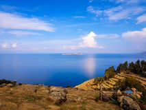 Isla Del Zol, Titicaca jezioro i x28; bolivia& x29; obraz stock