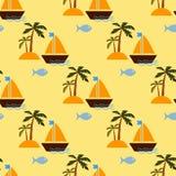 Isla desierta y velero stock de ilustración