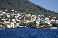 Isla eólica de Italia Sicilia de la salina foto de archivo libre de regalías