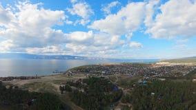 Isla el lago Baikal de Olkhon del pueblo de Khuzhir Tiro a?reo almacen de metraje de vídeo