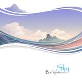 Isla en el océano y el cielo extenso libre illustration