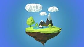 Isla flotante con la montaña y las nubes en el cielo stock de ilustración