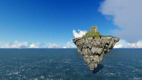 Isla flotante con la montaña y las nubes en el cielo ilustración del vector