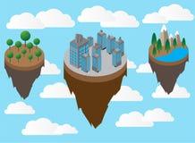 Isla flotante con la montaña y prado, y condominio en el vector del cielo ilustración del vector