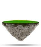 Isla flotante del campo de hierba verde en la utilización del suelo de la roca para el contexto abstracto del fondo Imágenes de archivo libres de regalías
