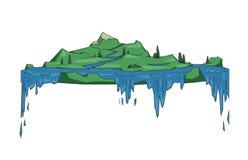 Isla flotante grande con las cascadas, concepto plano de la tierra de la fantasía Línea plana ejemplo del vector Estilo coloreado libre illustration