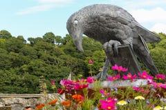 Isla - gralha com um livro - estátua Fowey do pássaro imagens de stock
