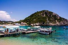 Isla Grecia de Paleokastritsa Corfú Foto de archivo libre de regalías