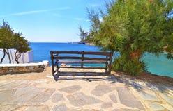 Isla Grecia de Sifnos de la playa de Faros Foto de archivo