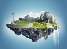 Isla hermosa que flota en el cielo Imagen de archivo