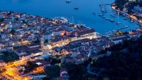 Isla Hvar por noche Foto de archivo libre de regalías