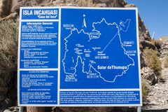 Isla Incahuasi -Isla del Pescado- in the middle of the world`s biggest salt plain Salar de Uyuni, Bolivia Royalty Free Stock Photo