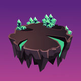 Isla isométrica de piedra de la historieta con los cristales para Imagen de archivo
