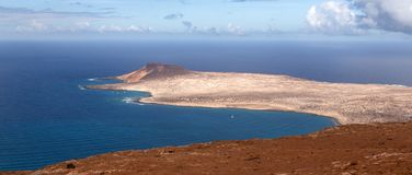 Isla La Graciosa, seen from high viewpoint royalty free stock photography