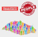 Isla La Tortuga Map Population Demographics e selo sujo ilustração stock
