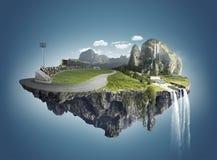 Isla mágica con las islas flotantes, caída del agua y el campo Foto de archivo libre de regalías
