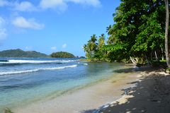 Isla Mamey in Panama in the Caribbean Sea. The paradise like Isla Mamey, a tiny little tropical island located in the caribbean sea in the province of Colon in royalty free stock image