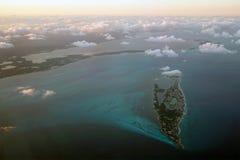 Isla Mujeres,坎昆,金塔纳罗奥州,墨西哥鸟瞰图  库存照片