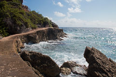 Isla Mujeres ö - Punta Sur punkt kallade också Acantilado del Amanecer Klippa av gryningen Royaltyfria Bilder