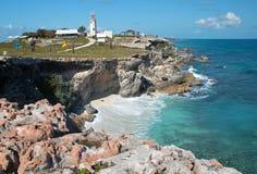 Isla Mujeres Acantilado Amanecer Punta Sura przez od Cancun Meksyk (faleza świt) obraz stock