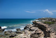 Isla Mujeres Coastline. Rugged coastline on the small Island of Isle Mujeres in Mexico royalty free stock images