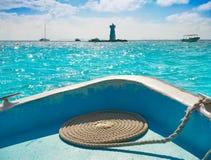 Isla Mujeres-de vuurtoren Gr Farito snorkelt punt stock afbeelding