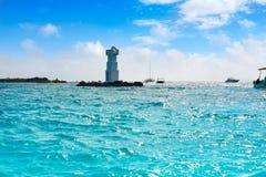 Isla Mujeres-de vuurtoren Gr Farito snorkelt punt stock foto
