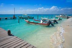 Isla Mujeres-eiland Caraïbisch strand Mexico stock foto