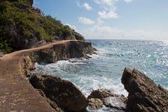 Isla Mujeres-eiland - het punt van Punta Sur riep ook Acantilado del Amanecer Cliff van de Dageraad Royalty-vrije Stock Afbeeldingen