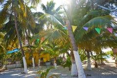 Isla Mujeres island Caribbean beach Mexico. Isla Mujeres island Caribbean beach of Riviera Maya in Mexico Stock Photo
