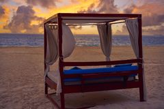 Isla Mujeres island Caribbean beach sunset. Gazebo of Riviera Maya in Mexico Royalty Free Stock Image