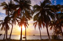 Isla Mujeres island Caribbean beach sunset. Palm trees Riviera Maya in Mexico Stock Images