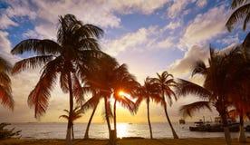 Isla Mujeres island Caribbean beach sunset Royalty Free Stock Photo