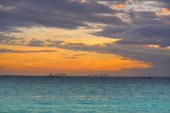 Isla Mujeres island Caribbean beach sunset. Of Riviera Maya in Mexico Royalty Free Stock Images