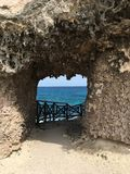 Isla mujeres. Ixchel ruins sea rock maya mayan blue azul Royalty Free Stock Image
