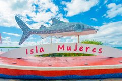 ISLA MUJERES - JANUARY 10, 2018: Outdoor view of a stoned statue in for of a shark whale located at outdoors in the. Streets of the city in Isla Mujeres, Mexico royalty free stock photos