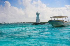 Isla Mujeres Lighthouse El Farito Snorkel Point Stock Image