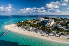 Isla Mujeres Meksyk Karaiby plaża - truteń anteny fotografia obrazy stock
